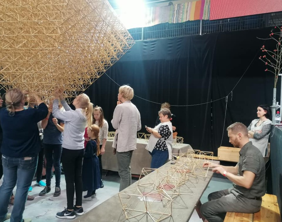 Striving for Guinness World Record in building reed crowns, 2019 in Tallinn, Estonia.